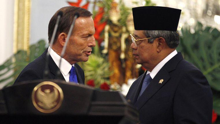 De Australische premier Abbott (links) en de Indonesische president Yudhoyono in september van dit jaar. Beeld ap