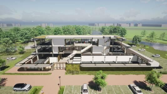 Een impressie van de hightech campus die op landgoed Steenenburg gaat komen.