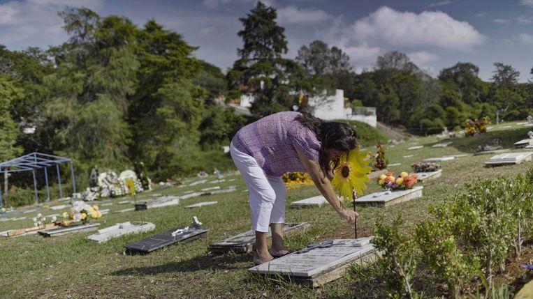 Norma Trujillo, journaliste in Xalapa, verzorgt het graf van haar vriendin Regina Martínez.  Beeld Forbidden Stories