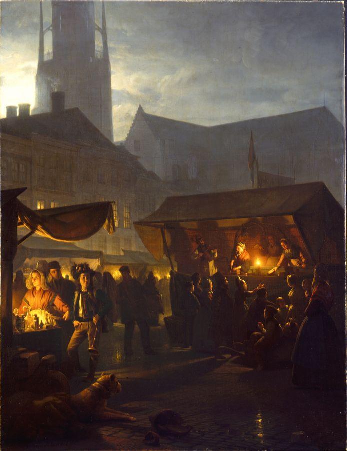 De Jaarmarkt op de Grote Markt in Breda, Petrus van Schendel maakte dit olieverfschilderij in 1863. Op het schilderij zijn burgers in lokale klederdracht te zien. Op de markt staan kramen met luxe handelswaar en lekkernijen. Het uitgelichte meisje links draagt een Baronie-muts met lange zijflappen. Rechts is een kermiskraam te zien waar men koek verkoopt. Tussen de mensen staat waarschijnlijk Petrus van Schendel zelf: de man met de hoge hoed.
