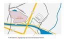 De nieuwe toegangsweg staat in het groen aangeduid op de kaart.