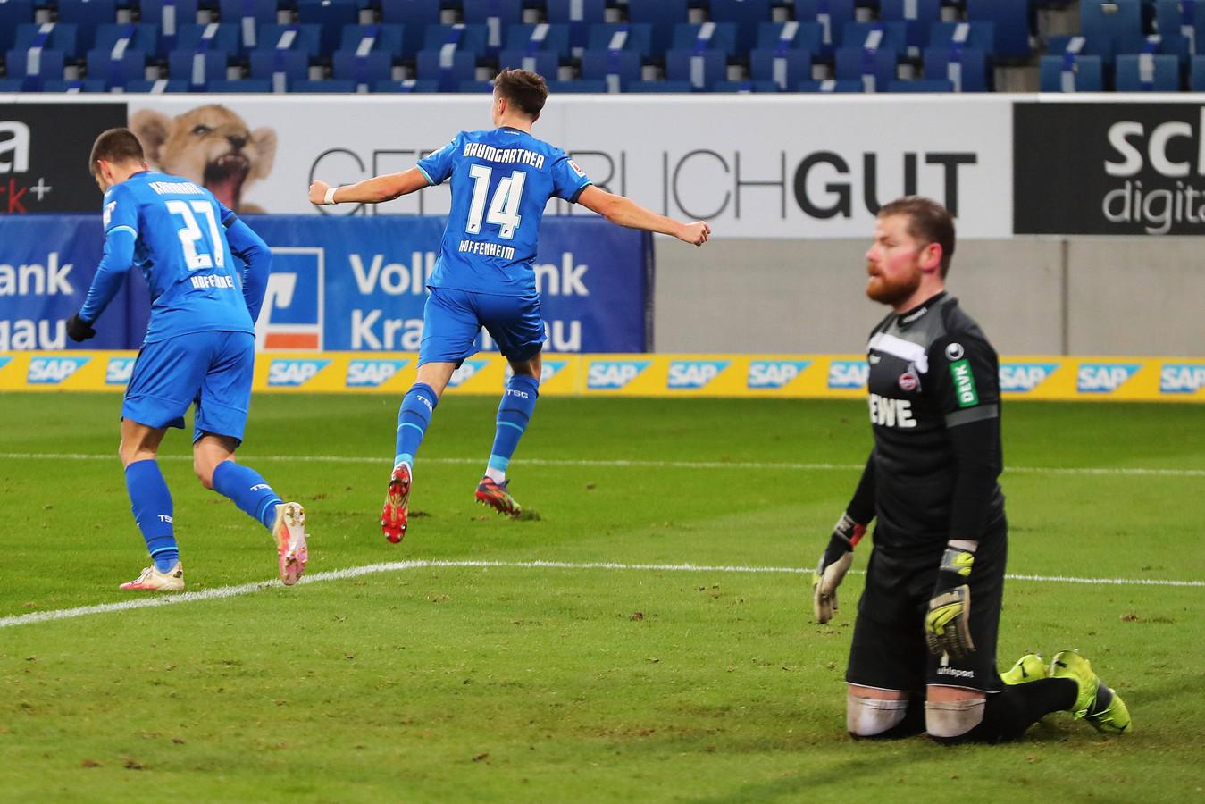 TSG Hoffenheim-middenvelder Christoph Baumgartner juicht na zijn treffer tegen FC Köln.