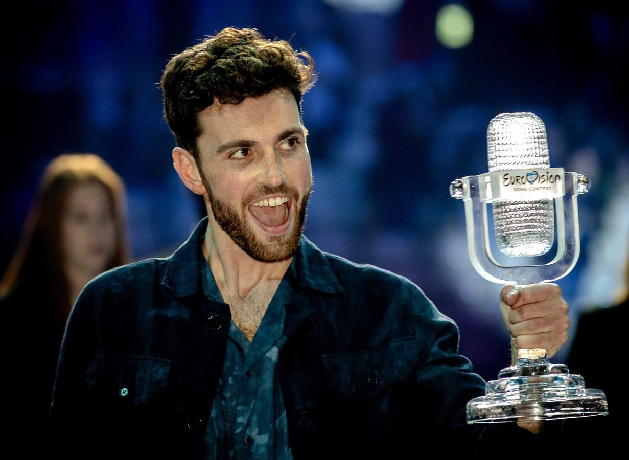 Duncan Laurence op het podium nadat hij het Eurovisie Songfestival heeft gewonnen. De zanger stond in de finale met zijn lied Arcade. ANP KIPPA SANDER KONING