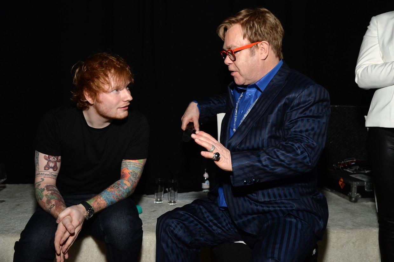 Ed Sheeran en Elton John Beeld Getty Images for EJAF