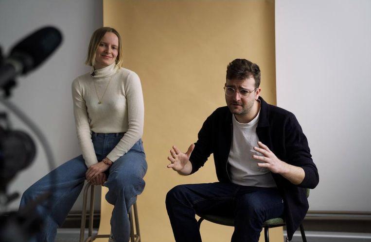 Eva Engelen en Lander Desmedt van HNST Jeans. Beeld Studio Rabona
