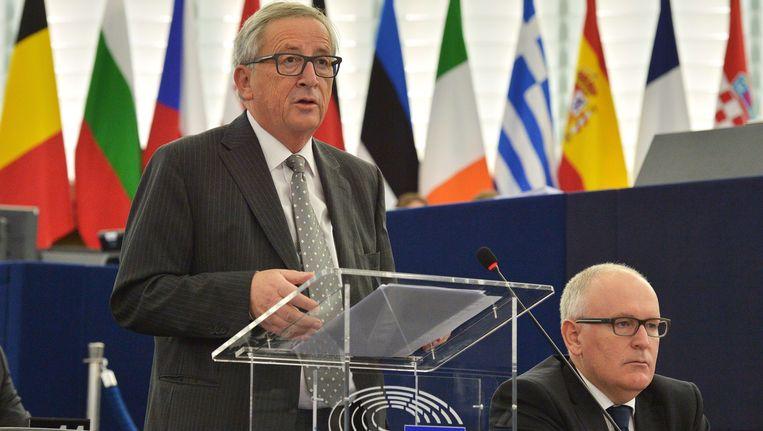 Europees Commissievoorzitter Jean-Claude Juncker (l.) met vicevoorzitter Frans Timmermans.