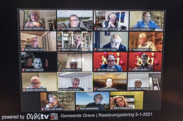 Digitale raadsvergadering in Grave via zoom.