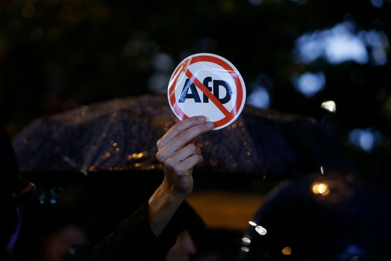 Oppositiepartijen Die Grünen, Die Linke en de liberale FDP kunnen in deze peiling rekenen op respectievelijk 15, 11 en 10 procent. Beeld AP