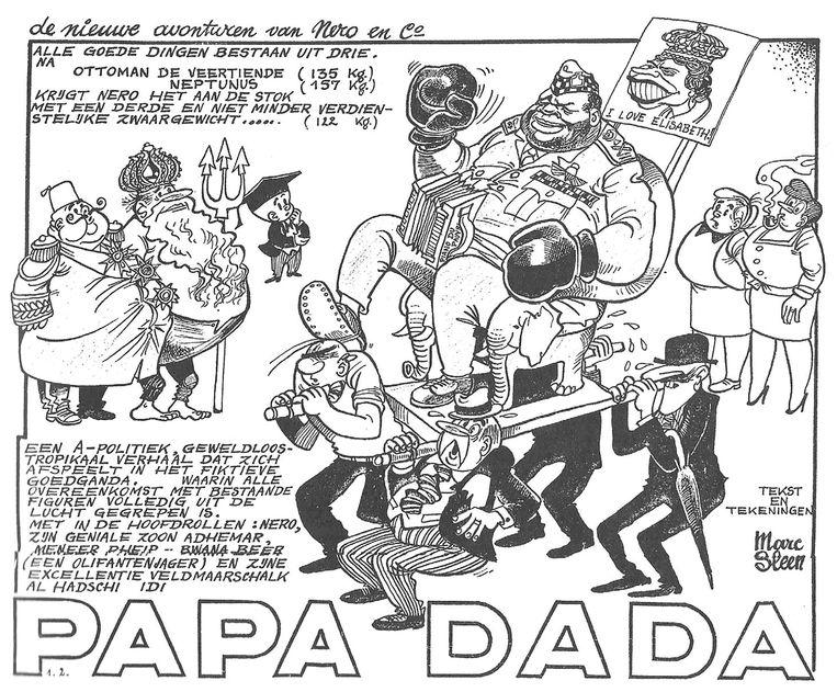 Het Nero-album De wensring, waarin de Oegandese dictator Idi Amin Dada centraal staat, zou eerst Papa Dada heten. Maar de uitgever hield dat tegen: een oude wet zou het spotten met staatshoofden verbieden. Amin werd uiteindelijk met snor en baard 'onherkenbaar' gemaakt. Beeld RV