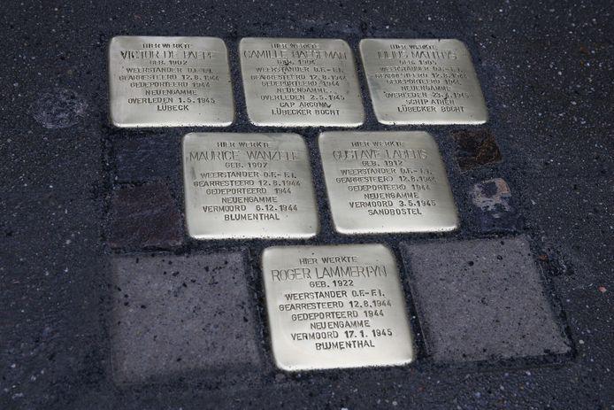 STOCK. Een voorbeeld van struikelstenen,  klinkers van 10 op 10 cm waarin de naam, geboorte-, deportatie- en overlijdensdatum van slachtoffers gegraveerd zijn.