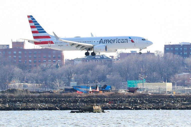 Eén van de laatste vluchten met een Boeing 737 Max 8 van American Airlines , op 12 maart van dit jaar. Beeld REUTERS