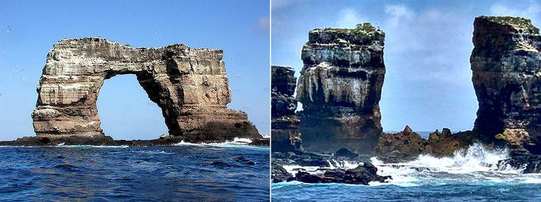 De boog voor en na. Beeld Wikipedia / AFP