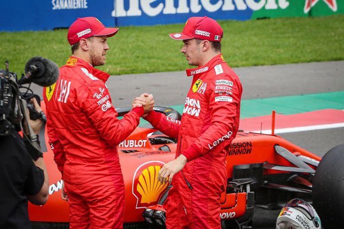 Sebastian Vettel en Charles Leclerc