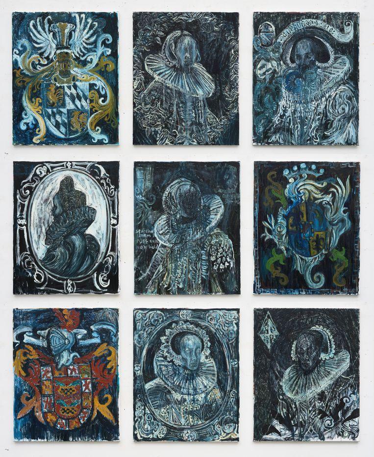Natasja Kensmil, 'The Monument of Regents' (2019), negen schilderijen van elk 100 x 80 cm. Beeld Collectie Amsterdam Museum