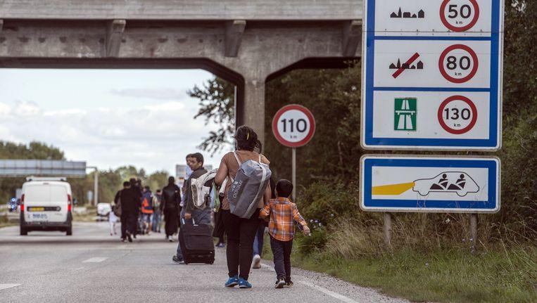 Syrische vluchtelingen langs de snelweg in Denemarken. Beeld AP