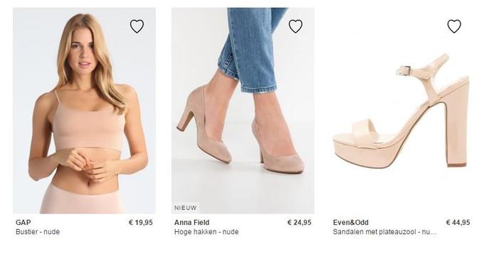 Wie de term 'nude' intypt op de site van Zalando krijgt enkel kleding in een blanke huidkleur.