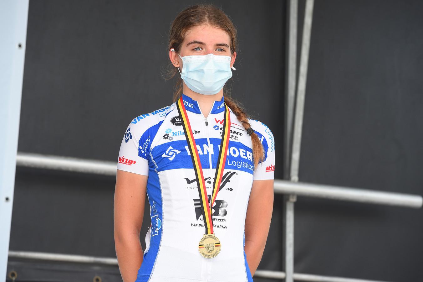 Dina Boels werd derde op het BK bij de meisjes-nieuwelingen.