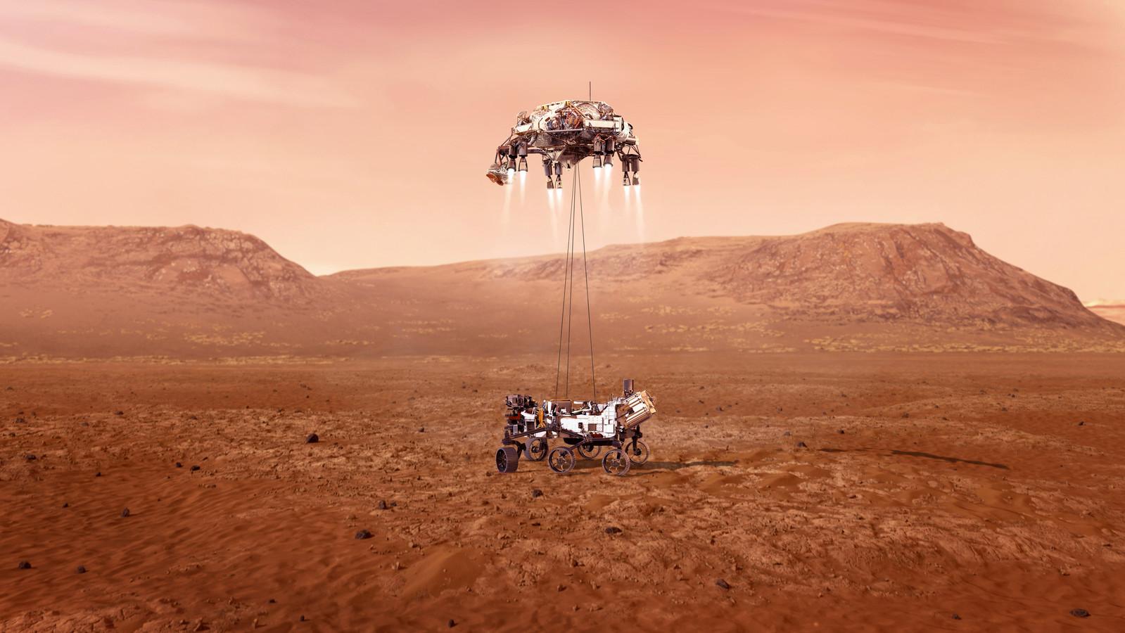 Artist impression van de landing van het Amerikaanse Marskarretje Perserverance, dat, als alles goed gaat, donderdag 17 februari met de wielen het Marsstof zal raken.