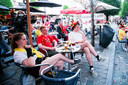 LEUVEN, BELGIUM - JUNE 12: Illustrative picture showing people at the Oude Markt watching the UEFA EURO 2020 game between Russia and Belgium at the Oude Markt on June 12, 2021 in Leuven, Belgium, 12/06/2021. (Photo by Tomas Sisk / Photo News)