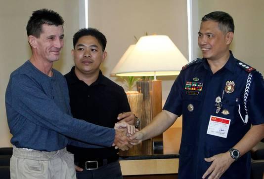 Rodwell kort na zijn vrijlating in een hotel in Manilla.