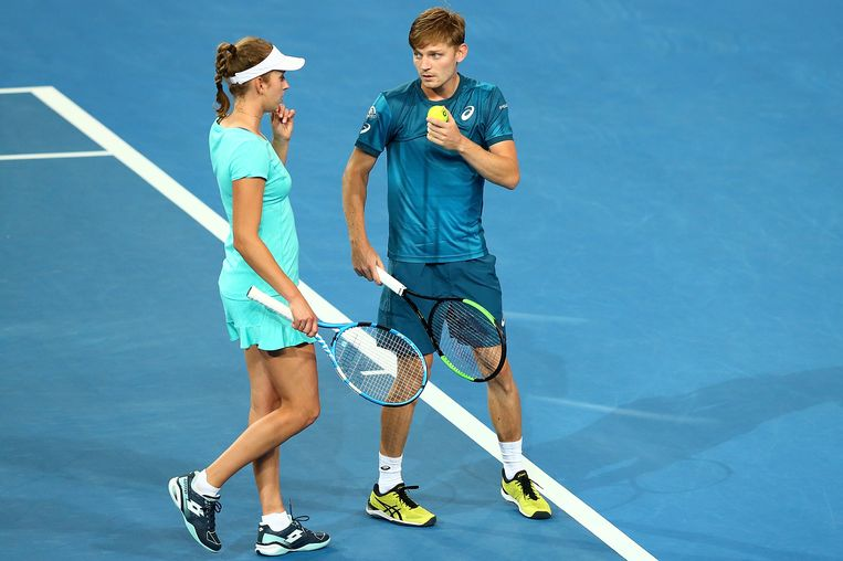 PERTH, AUSTRALIA - JANUARY 03:  Elise Mertens and David Goffin of Belgium talk tactics in the mixed double match against Daria Gavrilova and Thanasi Kokkinakis of Australia on day five of the 2018 Hopman Cup at Perth Arena on January 3, 2018 in Perth, Australia.  (Photo by Paul Kane/Getty Images) Beeld Getty Images