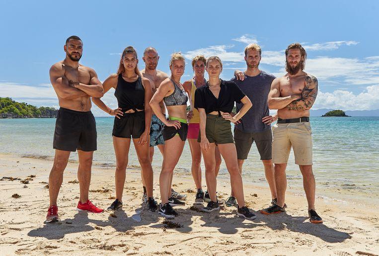 De groep van acht Belgische deelnemers aan Expeditie Robinson.