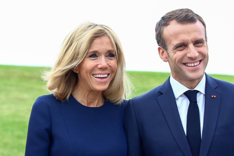 Brigitte Macron is 24 jaar ouder dan haar partner, de Franse president Emmanuel Macron. Beeld Photo News