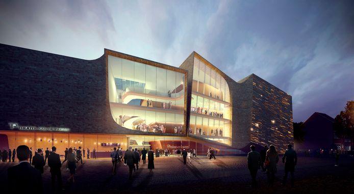 Het nieuwe Theater aan de Parade van het Amsterdamse bureau UNStudio, met de foyer over drie verdiepingen achter glas.