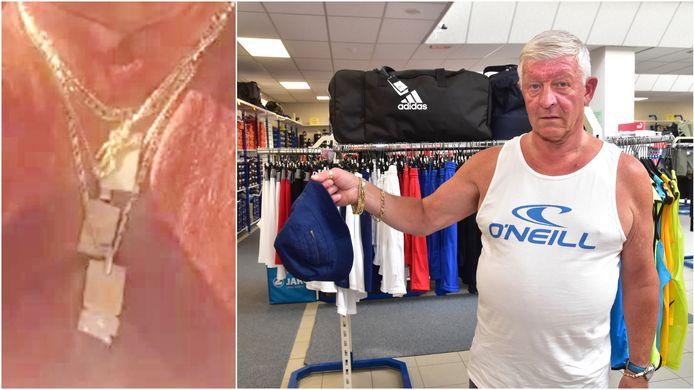 Na de roof op de Centrumbrug in Ingelmunster verloor één van de daders het donkerblauwe vissershoedje dat hij op z'n hoofd droeg. Slachtoffer Frank Devolder (61) nam het mee en bezorgde het aan de politie. Links: een foto van de halskettingen die gestolen werden.