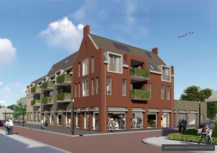 Centrumplan Rijen. Eindelijk wordt het Wilhelminaplein een volwaardig dorpsplein met woningen, supermarkt, horeca en winkel. Aanblik rechtsvoor.