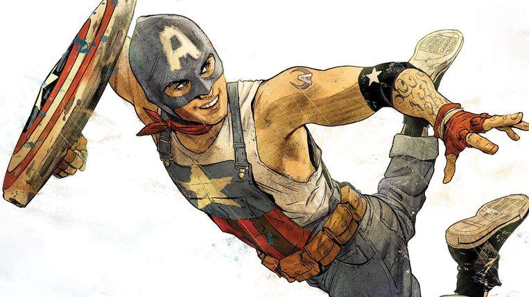Tiener Aaron Fischer als Captain America. Beeld Marvel