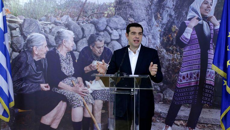 Griekse premier Alexis Tsipras op de luchthaven van Athene Beeld ap