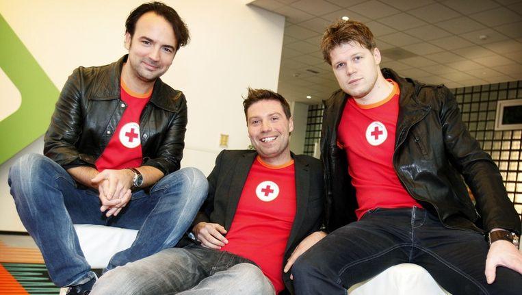 Het trio DJ's dat dit jaar in het glazen huis wordt opgesloten: Gerard Ekdom (l.) Timur Perlin (m.) en Coen Swijnenberg. Beeld anp