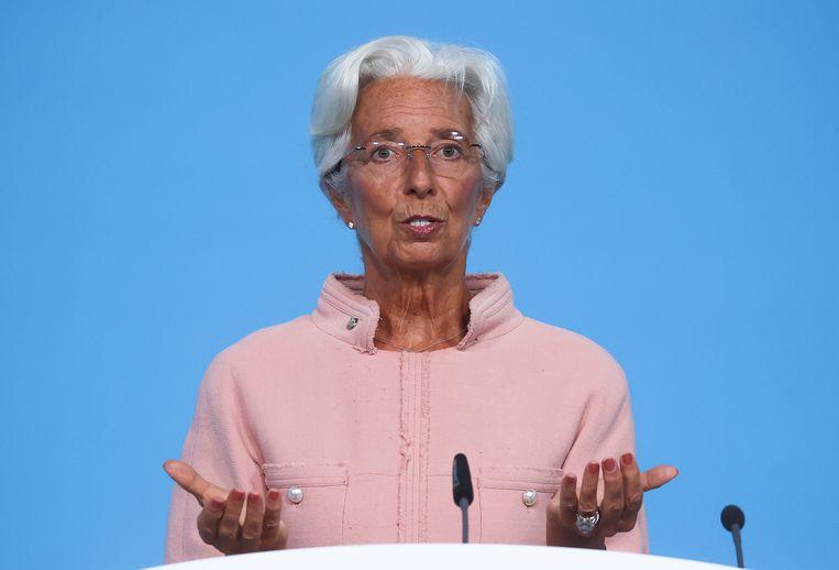 Christine Lagarde, president van de Europese Centrale Bank, tijdens haar persconferentie van donderdag in Frankfurt. Beeld REUTERS