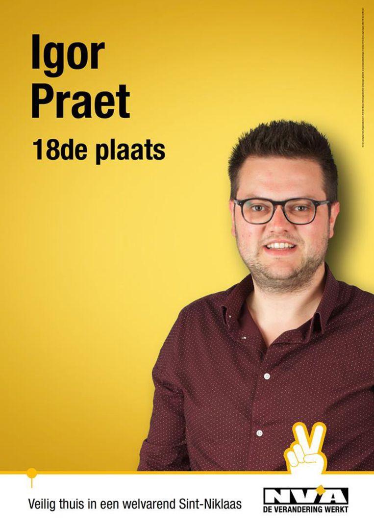 Igor Praet stond op plaats 18 op de N-VA-lijst in Sint-Niklaas, maar hij trekt zich terug na de heisa over Schild & Vrienden, de veelbesproken groep waarmee hij contacten had.