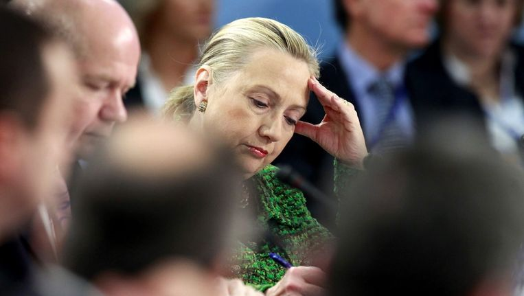 Clinton eerder deze week bij een NAVO-bijeenkomst. Beeld epa