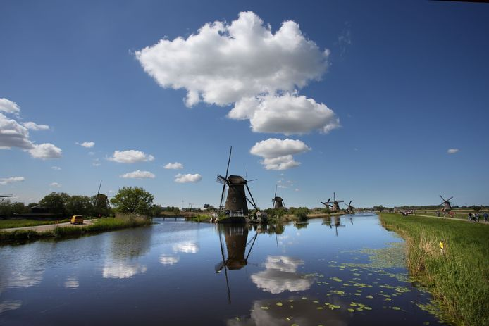 De molens bij Kinderdijk...