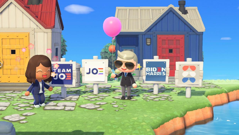 Campagneposters van de Democraten Joe Biden en Kamala Harris in 'Animal Crossing: New Horizons'.  Beeld