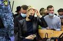 Navalny's vrouw Julia in de rechtszaal in Moskou.