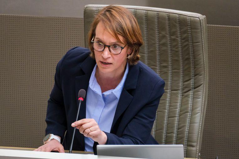 Elisabeth Meuleman (Groen) pleit voor een moederschapsverlof van 15 weken, net als een 'werkende' mama.  Beeld BELGA