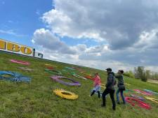 Kleurrijke cirkels op talud naast A50 trekken bekijks; kunstwerk is het startsein van festival Fabriek Magnifique