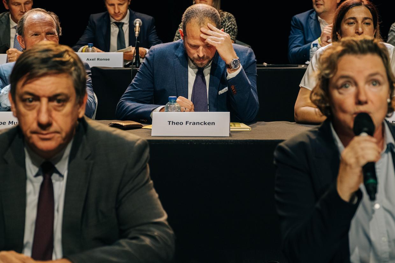Theo Francken tijdens het N-VA-ledencongres dinsdag. De kans dat de koning hem straks een rol toebedeelt, lijkt klein.  Beeld Wouter Van Vooren