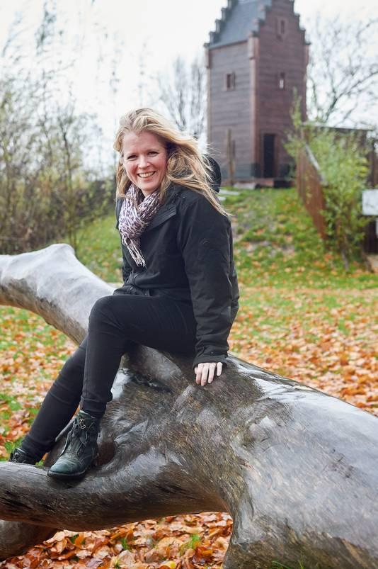 Jessica Keijzer-Nab in 'haar' natuurspeeltuin  in Megen.