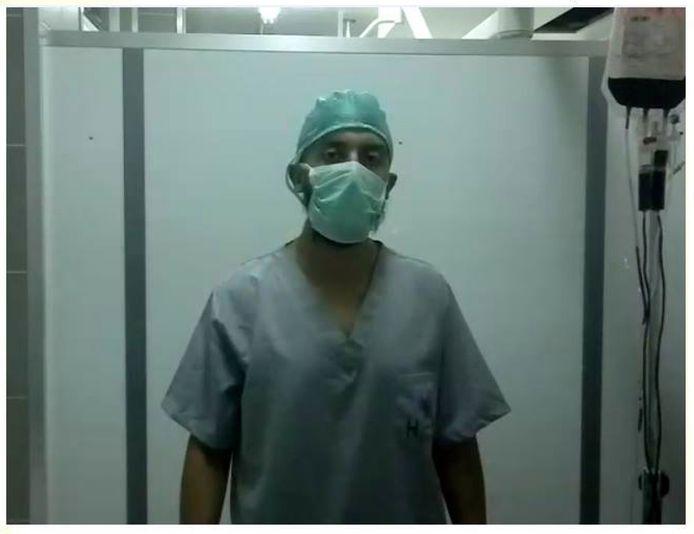 Ahmed Daoudi op 25 juni 2013 in het Al-Ihsaan-ziekenhuis in Syrië