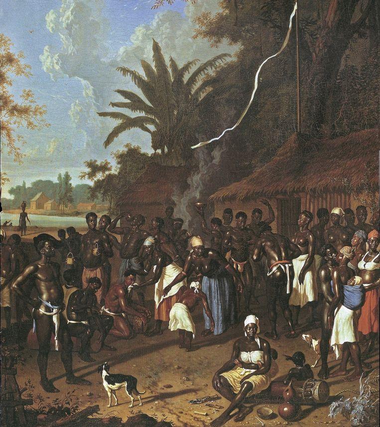 Slaafgemaakten op een suikerplantage in Suriname, 1707. Olieverf op doek, hangend in het Statens Museum for Kunst, in Kopenhagen. Beeld Statens Museum for Kunst