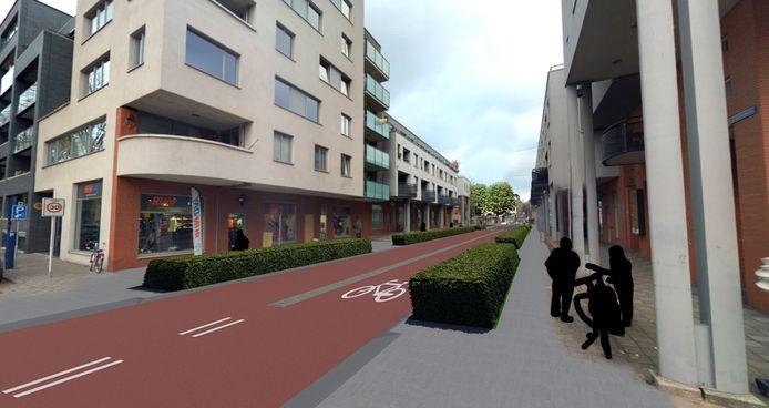 De Van Berckelstraat in Den Bosch als fietsstraat met een middenstrook.