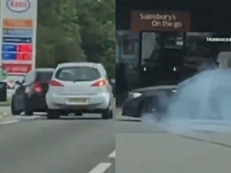 Slippende BMW raakt op een haar na andere auto na wilde achtervolging