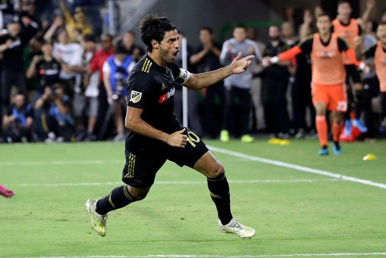 Carlos Vela viert een goal voor Los Angeles FC.