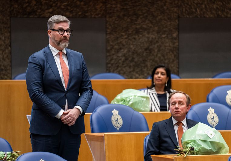 Sidney Smeets tijdens zijn beëdiging als Tweede Kamerlid op 31 maart 2021. Beeld