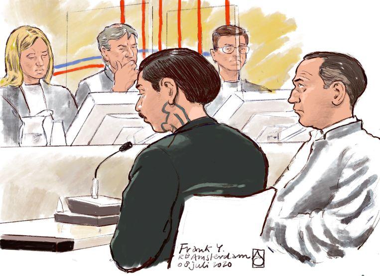 Rechtbanktekening van Frank Y.  Beeld ANP